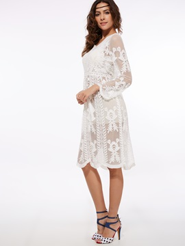 Pullover See-Through Floral Print Lace Dress