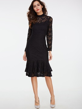 Stand Collar Hollow Patchwork Lace Dress