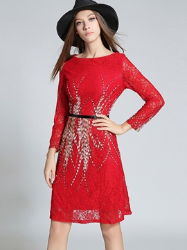 Nine Points Sleeve Hollow  Lace Dress