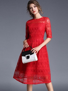 See-Through Stand Collar Patchwork Lace Dress
