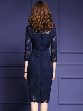 Pure Color Round Neck Long Sleeve Women s Lace Dress   Tidebuy.com f001082ee