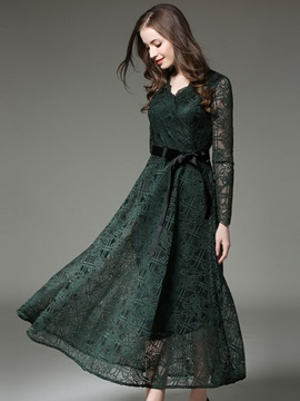 Solid Color Long Sleeve Lace Maxi Dress