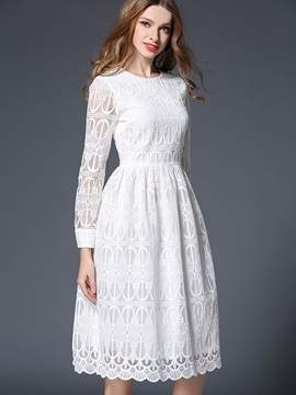 White Long Sleeve Round Neck Lace Dress : Tidebuy.com