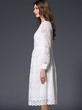 White Long Sleeve Round Neck Lace Dress