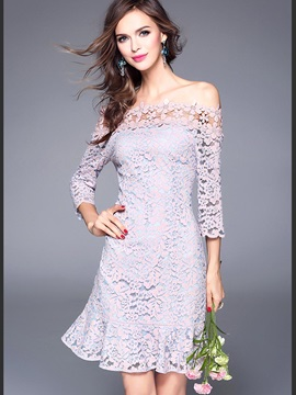 Solid Color Half Sleeve Lace Dress
