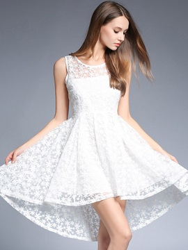 White Sleeveless Round Neck Lace Dress