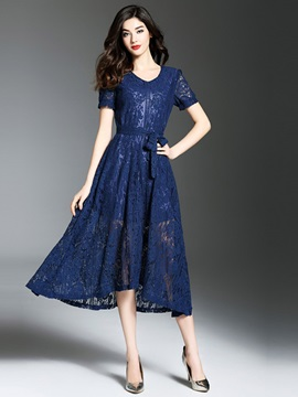 Short Sleeve Round Neck Lace Maxi Dress