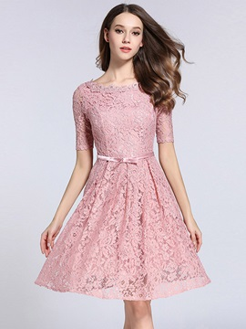 Chic Solid Color Half Sleeve Lace Dress
