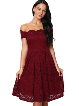 Solid Color Boat Neck Lace Dress