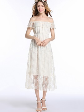 Boat Neck Short Sleeve Lace  Dress