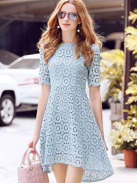 Blue Short Sleeve Women's Lace Dress
