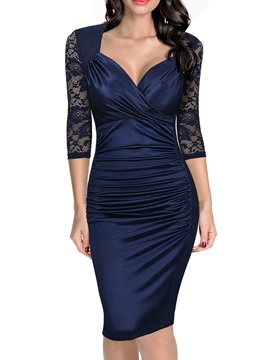 3/4 Sleeve Lace Patchwork Pleated Women's Bodycon Dress