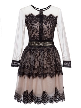 Color Block Mesh Patchwork Women's Lace Dress