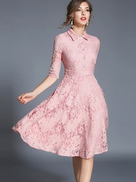 Solid Color Long Sleeve Lace Skater Dress