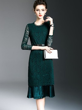Hot Solid Color Long Sleeve Women's Lace Dress