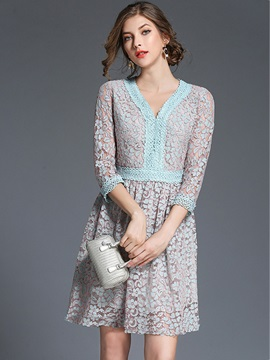 V Neck Long Sleeve Women's Lace Dress