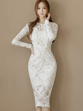 White Round Neck Long Sleeve Lace Dress