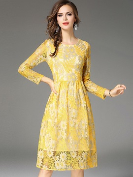 Yellow Long Sleeve Women's Lace Dress