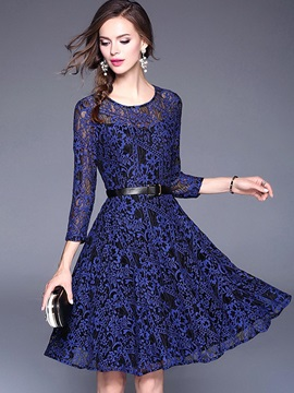 Blue Long Sleeve Women's Lace Dress