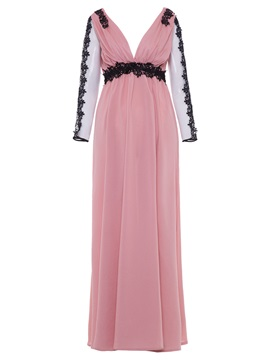 Sexy V-Neck Mesh Patchwork Backless Women's Maxi Dress