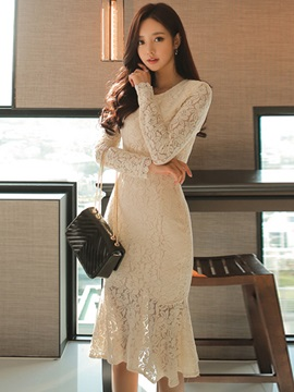 Plain Long Sleeve Mermaid Lace Women's Bodycon Dress