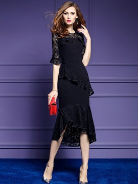 Tidebuy Half Sleeves Lace Patchwork Women's Dress
