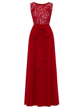 Floor-Length Sleeveless Lace-Up Women's Maxi Dress