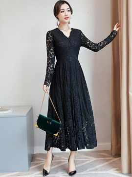 Long Sleeves Hollow Lace V Neck Maxi Dress