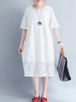 Tidebuy Pullover Hollow Round Neck Women's Lace Dress