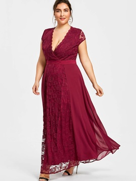 Tidebuy Lace Plusee Patchwork Women's  Dress