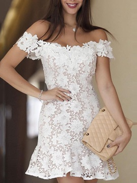 Above Knee Short Sleeve Off-The-Shoulder Summer Women's Lace Dress