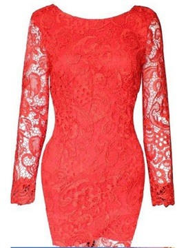 Long Sleeve Above Knee Lace Spring Bodycon Women's Dress