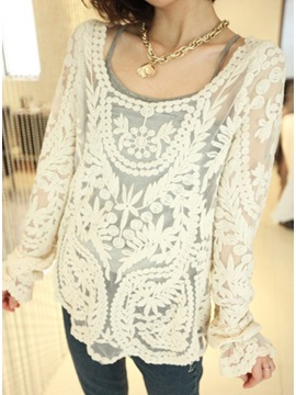 Simply Hollow Long Sleeve Lace Blouse