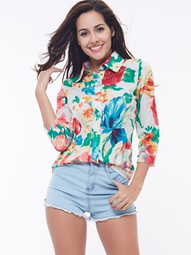 Fashion Petty Flowers Turndown Collar Blouse