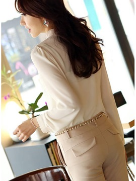 Perfect Korean Style Stand Collar Long Sleeves Beading Gentlewomanly Chiffon Lace Blouse