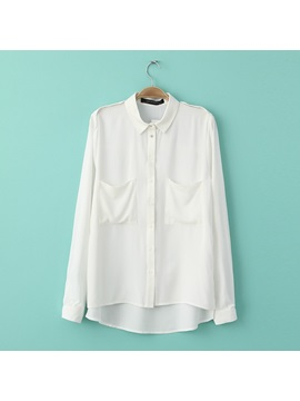New  Fashionable Europe Style Lapel Thicken Cotton Pockets Blouse