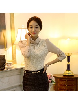 Chic Slim Turtle Collar Thicken Lace T-Shirt