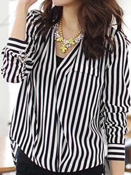 Unique Euramerican V-neck Striped Chiffon Blouse