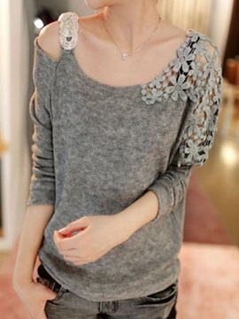 Spring Hollow Shoulder Design Sexy Blouse