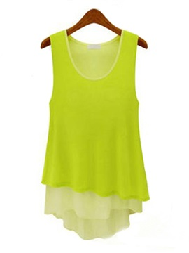 Candy Color Asymmetric Hem Blouse