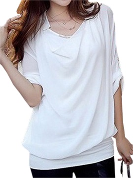 Wonderful new button style cuff loose Mesh Blouse