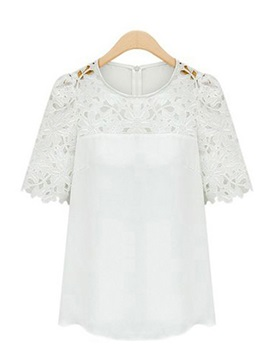 Cooncise Hollow Jacquard Solid Color Short Sleeve Loose Blouse