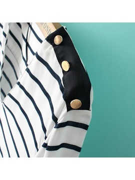 V-neckline Long Sleeve Metallic Buttons Striped Blouse