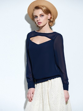 Black Hollow Long Sleeve Chiffon Blouse