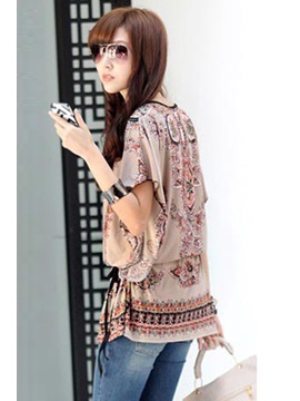National Batwing Sleeve Print Blouse