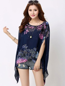 Loose Bat Shaped Print Blouse