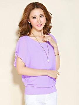 Pure Color Batwing Sleeve Blouse
