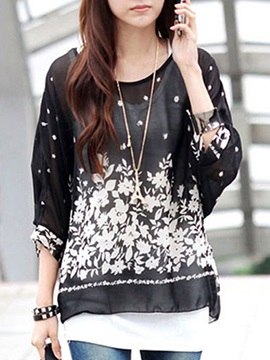Casual Floral Printing Loose Blouse