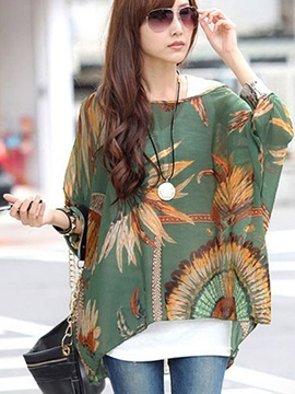 Casual Style Printing Loose Blouse