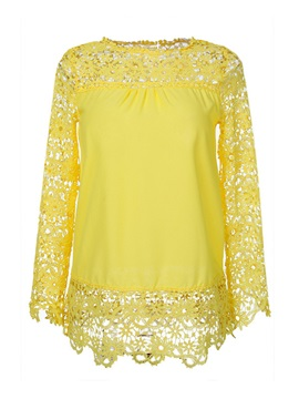 Casual Hollow Out Crochet Blouse